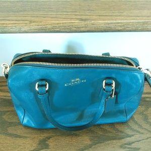 Pretty blue leather Coach handbag